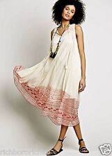 NEW Free People Endless Summer ivory red pink bottom Swing Midi Maxi Dress S