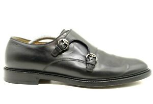 Gucci Black Leather Double Buckle Monk Strap Loafers Shoes Men's 10 UK / US 10.5