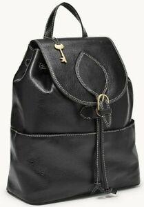 * TEST Luna Large Backpack Black Leather ZB1408001 Brass NWT $238 Retail FS