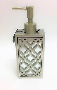 NEW SANCTUARY SILVER,GRAY 3D VINTAGE STYLE RESIN,MIRROR,SOAP,LOTION DISPENSER