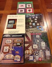 lot vintage cross stitch patterns dinosaur plants dogs hot air balloon sailboat