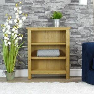 Milan Oak Bookcase   Small Wide Bookshelf   Rustic Medium Wood Tone