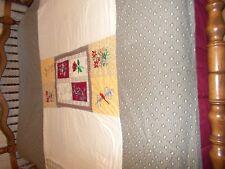 """Quilt Full Embroidered Center Flowers Corner Lighthouse 80"""" x 80"""" Light Blanket"""
