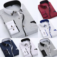 US Luxury Fashion Men's Slim Fit Shirt Long Sleeve Dress Business Casual Shirts