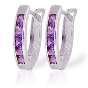 0.85 Carat 14K Solid White Gold Oval Huggie Earrings Purple Amethyst