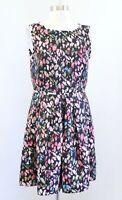 Tahari ASL Levine Black Multi Color Scattered Floral Print Fit & Flare Dress 8P
