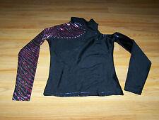 Juniors Size Medium Black Hot Pink Zebra Stripe Dance Top Long Sleeve Shirt New