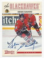 2012-13 Panini Classics autographed hockey card Denis Savard, Chicago Blackhawks