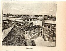Stampa antica LEGNAGO veduta panoramica Verona Veneto 1898 Old print