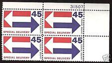 E22 Plate block 45cent Special Delivery Arrows bob