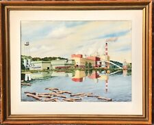 Norfolk Virginia Artist Kenneth Harris Signed W/C. Jonquiere Paper Mill Quebec