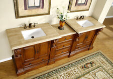 "95"" Large Bathroom Double Sink Vanity Travertine Top Bath Furniture Cabinet 907T"