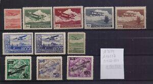 ! Czech Republic 1922-1930. Air Mail  Stamp. YT#A7/9,A10/17. €50.50!
