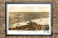 Old Map of Peoria, IL from 1867 - Vintage Illinois Art, Historic Decor