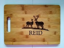 Personalized Buck & Doe Deer Bamboo Cutting Board For Christmas Birthday 13 3/4""