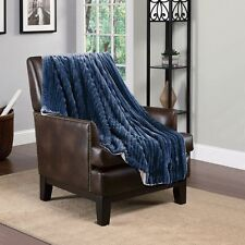Hiyoko 3D Jacquard Flannel Sherpa Super Soft Throw Blanket 60 X 80 Navy Blue