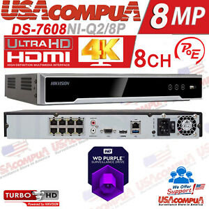 Hikvision 8CH POE 4K NVR 8 Channel 8 MP Plug and Play Hard Drive Included