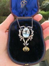 Vintage 1960s Natural Blue Topaz, Citrine Drop & Silver Necklace