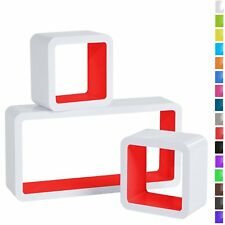 Floating Shelves Red Cube Floating Wall Shelves Set of 3 CD DVD Toys Storage Dis