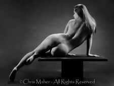 1239-JEM Beautiful Mature Woman on Platform BW Photograph Print Signed by Maher
