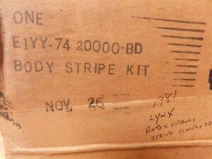 NOS 1981 1982 MERCURY LYNX STATION WAGON RED AND ORANGE COMPLETE STRIPE KIT NEW