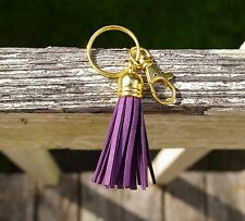 Purple Leather Tassel Fringe Clip Keychain Gold Tone Metal