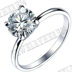 7.5mm Round Flawless Cubic Zirconia Wedding Engagement Fine Ring 14K White Gold