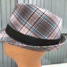"Carbon Elements Mens Blue Gray Plaid Fedora Cap Hat S/M 23"" Band"
