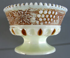 Northwood GRAPE & CABLE Nutmeg Stained Custard Glass Footed Sherbet Berry ca1914
