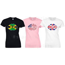 Sexy Lips With Flag Ladies fitted T-Shirt Tops Tees sizes Xs - Xxl!