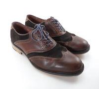 Johnston Murphy Wingtip Oxfords Dress Shoes Mens Sz 10M Brown Suede Sheepskin
