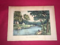 Original Currier & Ives Print The River Side Great Color