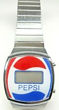Vintage Fashion PEPSI Watch Red Blue and White Digital Silvertone Stretch Band