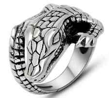 Men's Stainless Steel 316L Silver Punk Alligator Crocodile Cast Biker Ring