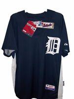 Detroit TIGERS BLUE MLB MAJESTIC AUTHENTIC D COOL BASE JERSEY MENS L
