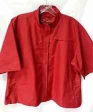 Glen Echo Golf Jacket Womens XL Zip Front Red Short Sleeve Mesh Lined NICE!