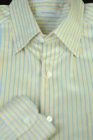 Ermenegildo Zegna Men's Yellow and Light Blue Stripe Cotton Casual Shirt L Large