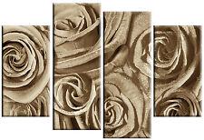 LARGE ROSES CANVAS ART PICTURE LIGHT BROWN SEPIA SPLIT 4 PANEL MULTI 100cm wide