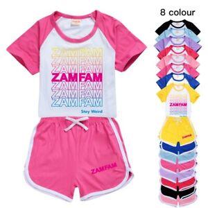 ZAMFAM Kids Sports Rebecca Zamolo Funny Girls Casual T Shirt Shorts Tracksuit UK