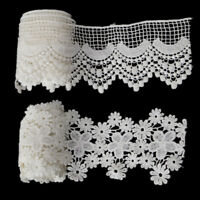 2 Yds White Foral Lace Trim for Dress Costume Ribbon Doll DIY Decor Sewing Craft