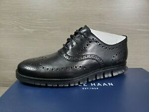 NEW Sz 8 W Wide Cole Haan ZEROGRAND Black Wingtip Oxford Shoe C20719 (g