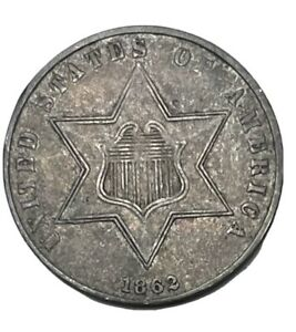 1862 Three Cent Silver Piece Attractive AU Type 3 Collectible US Silver Coin
