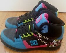 WOMENS SIZE 6 DC HIGH TOP SKATE SHOES MULTI COLORS PINK PURPLE BLUE GREEN BLACK