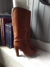 belles bottes vintage plein cuir camel .t 38  . ( SB/L/ G)