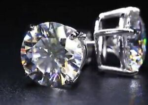 DIAMOND MOISSANITE 3 CARAT EARRINGS SOLID PLATINUM PT 900 VVS1 GRA CERTIFIED