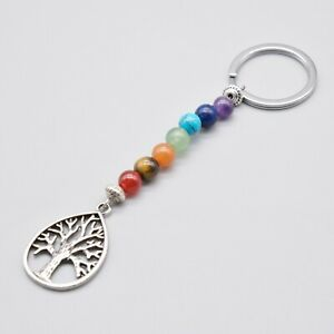 Tree of Life Chakra Stones Keychain Keyring UK Seller