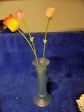 Glass Light Blue Frosted Vase with Plastic Roses CUTE