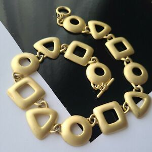"""Vintage Gold Brushed Statements Chain Necklace 18""""L"""