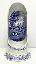 "Rare Spode Blue Signature Collection 11"" Candlestick Chamber ""Rural Scenes"""