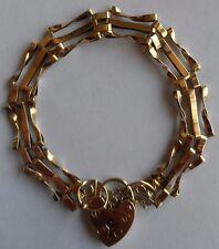 Women s 9ct Gold. Vintage Triple Curb Link Bracelet. Heart Padlock.  Hallmarked. 03009d6a5d87